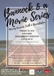 Bannock & a Movie Series - Moving towards Truth & Reconciliation @ Dover Community Association
