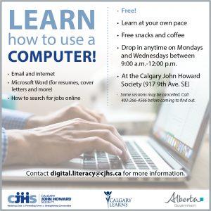 Learn how to use a COMPUTER! @ Calgary John Howard Society