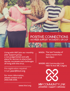 POSITIVE CONNECTIONS HIV PEER SUPPORT WOMEN'S GROUP @ HIV Community Link