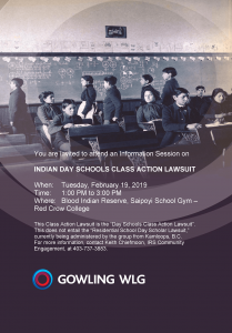 INDIAN DAY SCHOOLS CLASS ACTION LAWSUIT @ Blood Indian Reserve, Saipoyi School Gym – Red Crow College