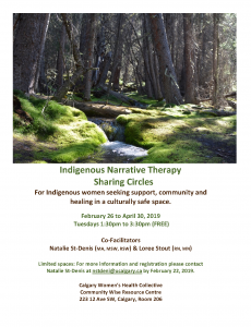 Indigenous Narrative Therapy Sharing Circles @ Calgary Women's Health Collective Community Wise Resource Centre, Room 206