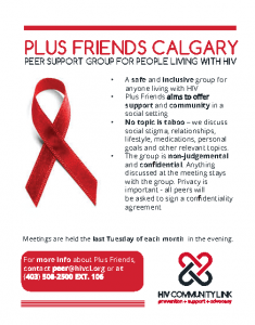 PLUS FRIENDS CALGARY PEER SUPPORT GROUP FOR PEOPLE LIVING WITH HIV @ HIV Community Link