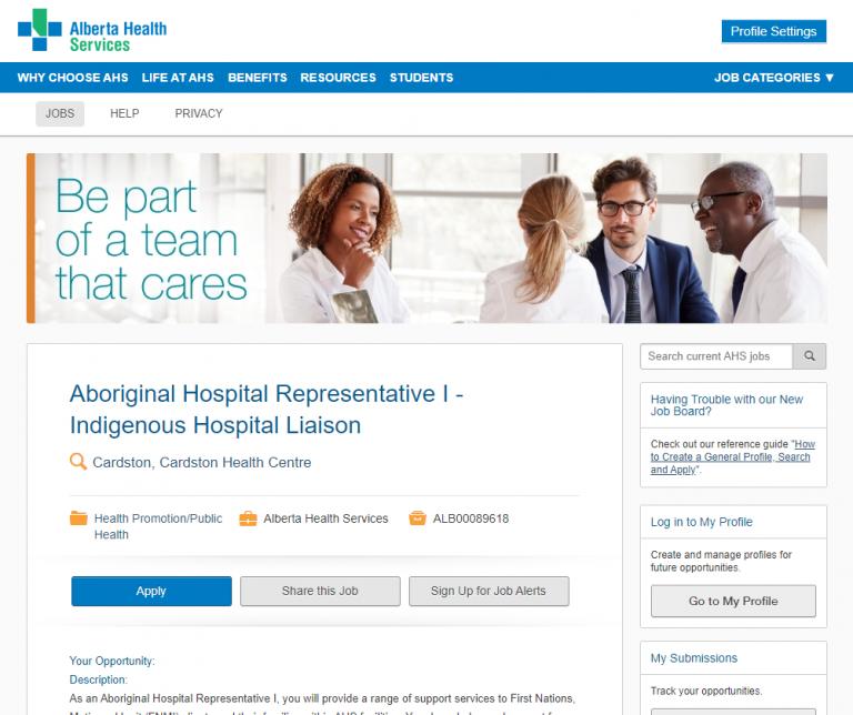 Job Posting:  Aboriginal Hospital Representative I – Indigenous Hospital Liaison