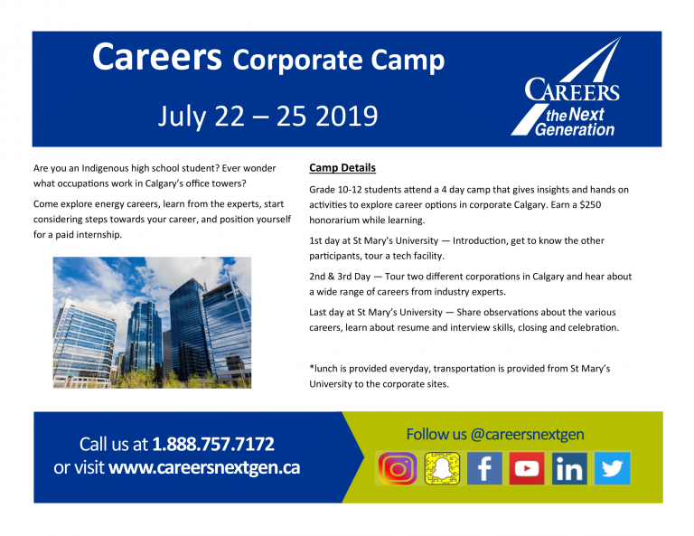 Careers Corporate Camp with Careers the Next Generation July 22 – 25 2019